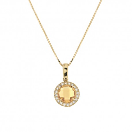 Yellow gold 18k 750/1000 with yellow stone and white cubic zirconia pendant woman necklace