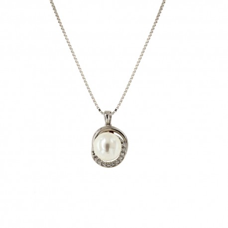 White gold 18k 750/1000 with pearl and white cubic zirconia woman necklace