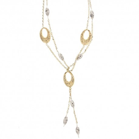 White and yellow gold 18k 750/1000 with hammered leaves and ovals woman necklace