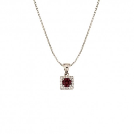 White gold 18k 750/1000 with white and red cubic zirconia pendant necklace
