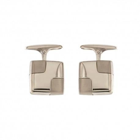 White gold 18k 750/1000 shiny and satin man square cufflinks