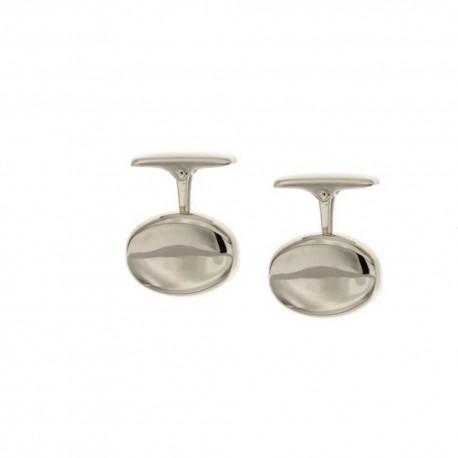 Gold 18k 750/1000 shiny man oval cufflinks