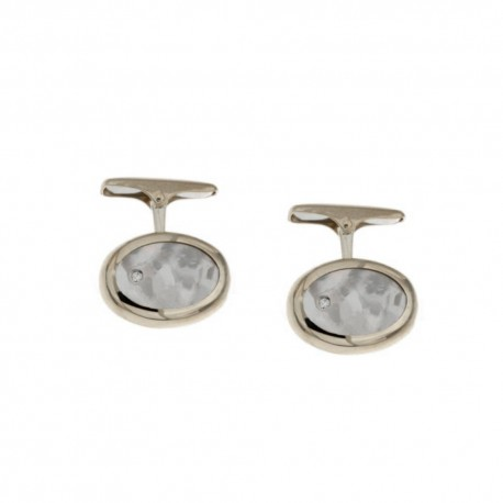 Gold 18k 750/1000 with diamonds and mother of pearl man oval cufflinks