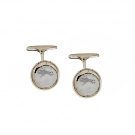 Gold 18k 750/1000 with diamonds and mother of pearl man cufflinks