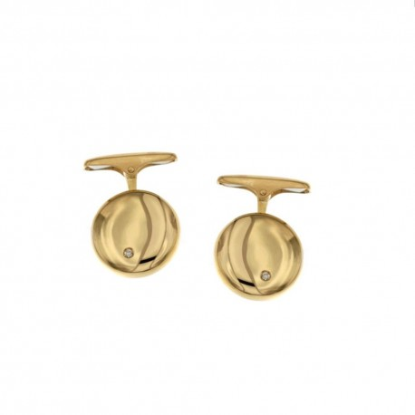 Gold 18k 750/1000 with diamonds shiny man cufflinks
