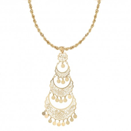 Yellow gold 18k 750/1000 with openworked pendant woman necklace