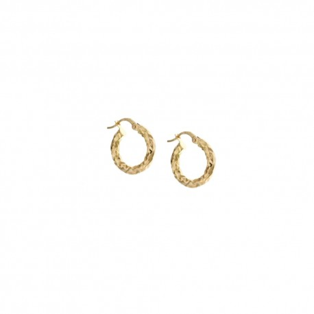 Gold 18 Kt 750/1000 hammered hoops woman earrings