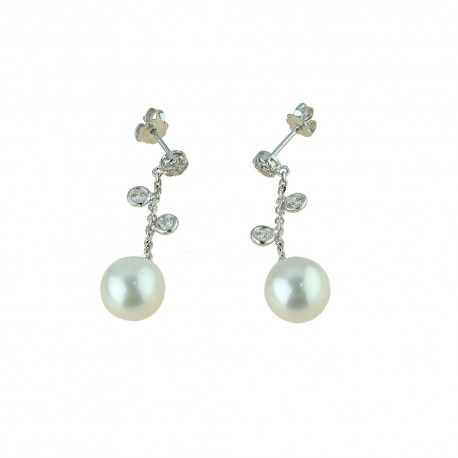 White gold 18Kt 750/1000 with white cubic zirconia and pearls