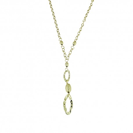 Yellow gold 18k 750/1000 shiny and hammered woman necklace