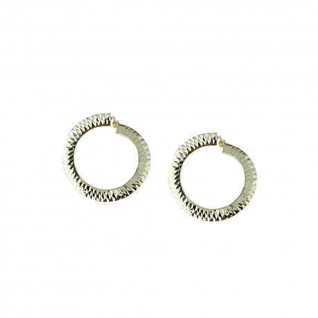 White gold 18 Kt 750/1000 hammered hoops woman earrings