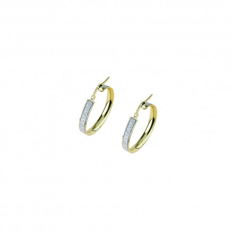 White and yellow gold 18 Kt 750/1000 shiny and diamond cut hoops woman earrings