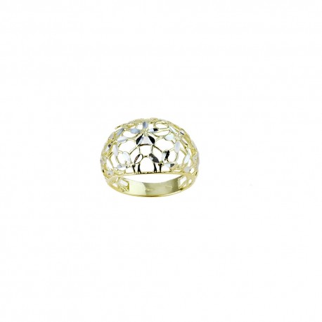 White and yellow gold 18k 750/1000 shiny and openworked woman ring