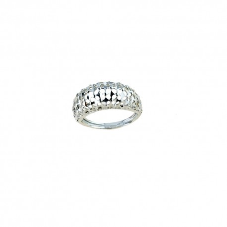 White gold 18k 750/1000 shiny and hammered woman ring