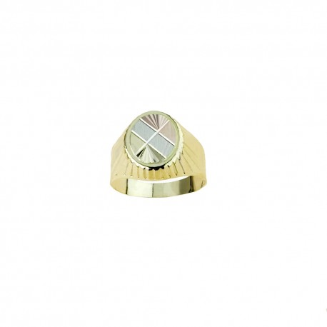 White rose and yellow gold 18 Kt 750/1000 with decoration shiny man ring