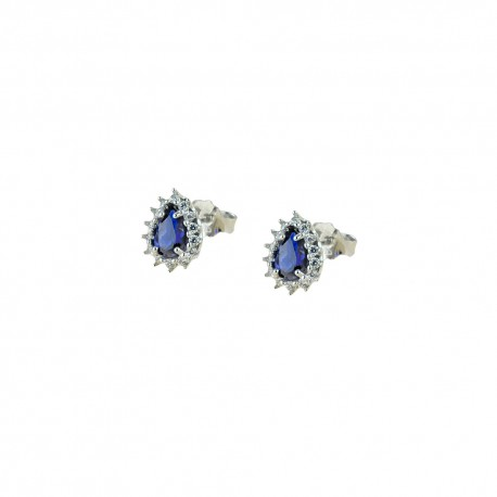White gold 18Kt 750/1000 with white cubic zirconia and blue stones woman earrings