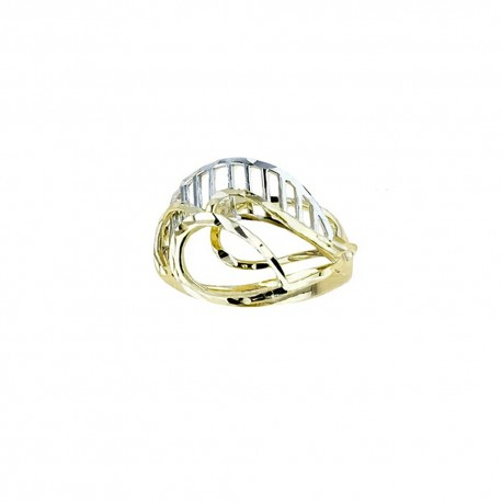 White and yellow gold 18k 750/1000 shiny and hammered woman ring