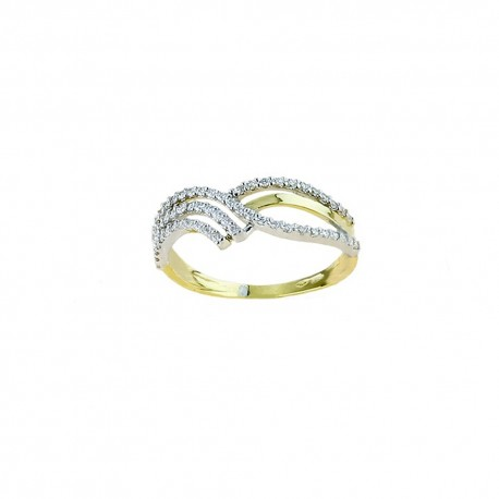 Yellow gold 18k 750/1000 with white cubic zirconia ring