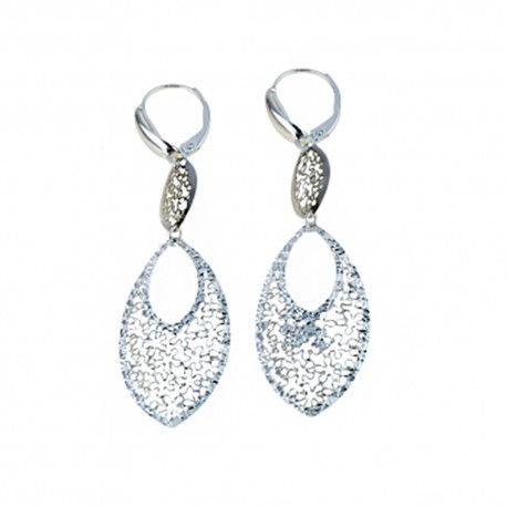 White gold 18k 750/1000 openworked woman dangling earrings