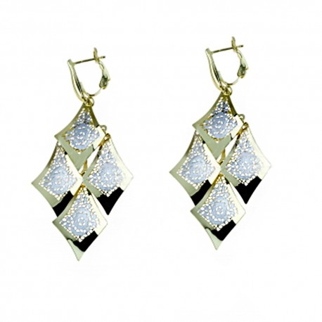 White and yellow gold 18k 750/1000 rhombus shape woman dangling earrings