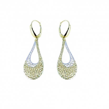 White and yellow gold 18k 750/1000 drop shape openworked woman dangling earrings