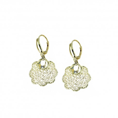 Yellow gold 18k 750/1000 with openworked flower woman dangling earrings