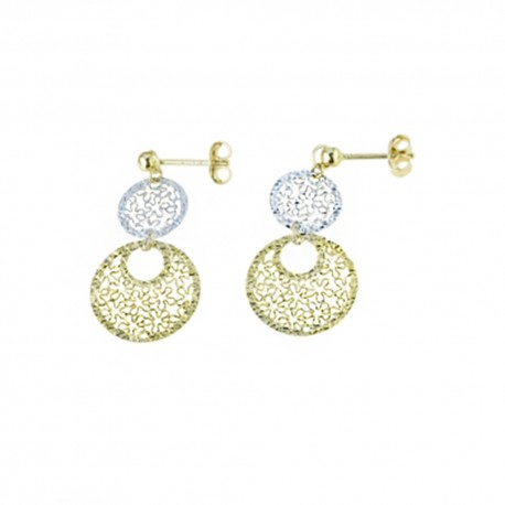 White and yellow gold 18k 750/1000 openworked woman dangling earrings