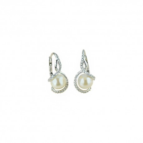 White gold 18k 750/1000 with pearls and white cubic zirconia woman earrings