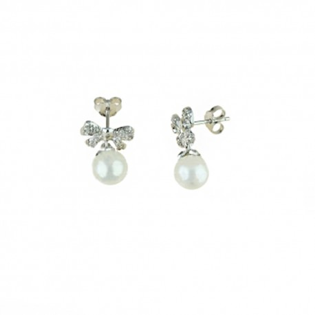 White gold 18k 750/1000 with pearls and white cubic zirconia butterflies woman earrings