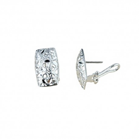 White gold 18k 750/1000 shiny openworked woman earrings