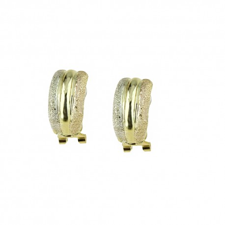 White rose and yellow gold 18k 750/1000 shiny and diamond cut earrings