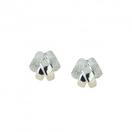 White gold 18k 750/1000 shiny and diamond cut woman earrings