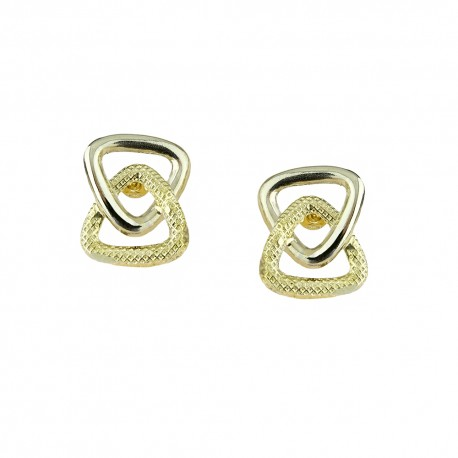 White and yellow gold 18k 750/1000 shiny and hammered woman earrings
