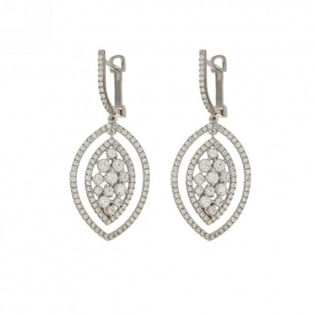 Gold 18k 750/1000 with white cubic zirconia oval dangling earrings