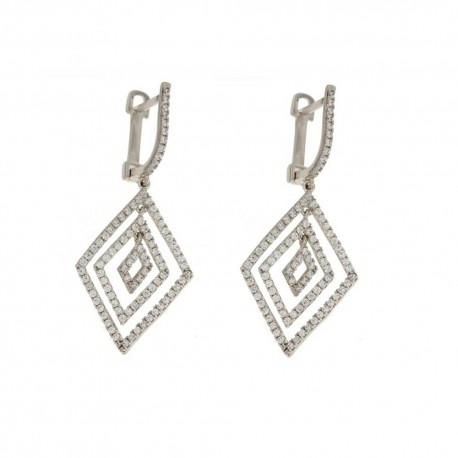 White Gold 18k 750/1000 with white cubic zirconia rhombus shaped dangling earrings
