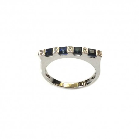 White gold 18k 750/1000 with diamonds and sapphires woman ring