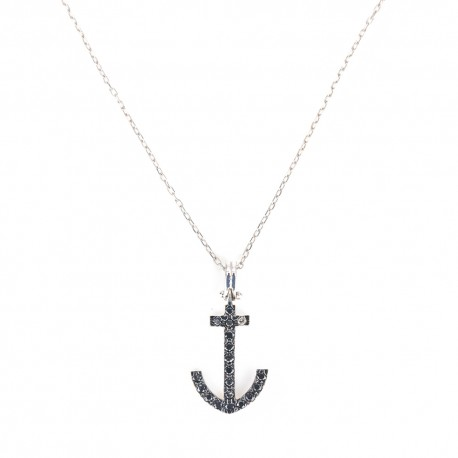 White gold 18 K 750/1000 with anchor pendant mens necklace