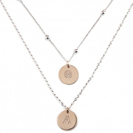 White and rose gold 18 K with diamonds alphabet double necklace