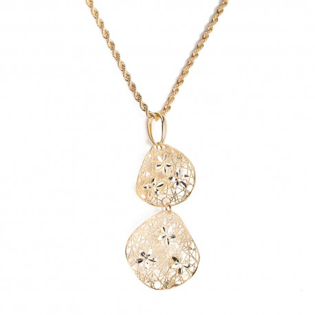 Yellow gold 18 K 750/1000 with embroidered pendant woman necklace
