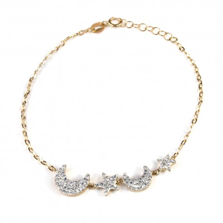 Yellow gold 18 K 750/1000 with stars and moons woman bracelet