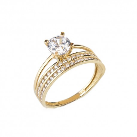 Yellow gold 18 K 750/1000 with cubic zirconia double ring