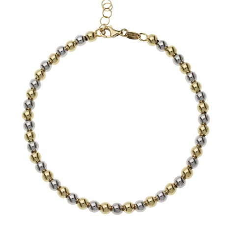 White and Yellow Gold 18 K with spheres women bracelet