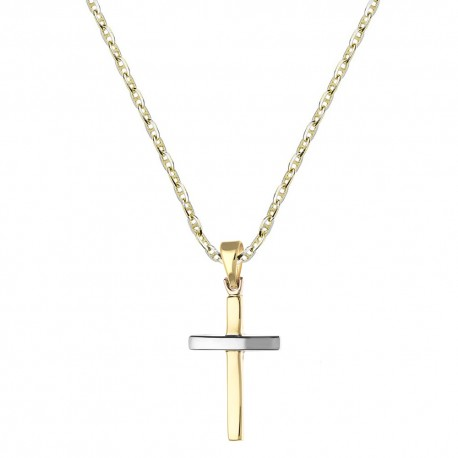 Gold 18 K 750/1000 with cross pendant mens necklace