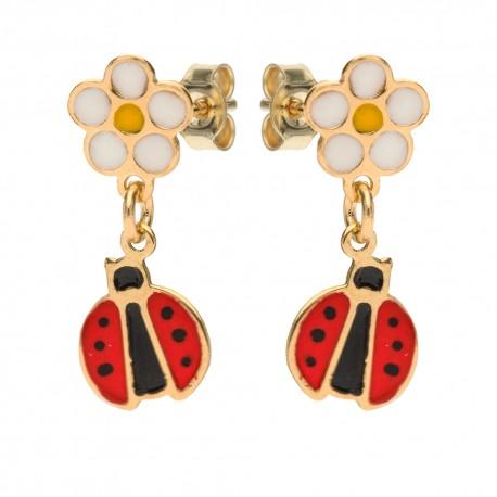 Yellow gold 18k with flower and ladybugs baby girl earrings