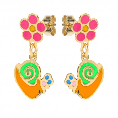 Yellow gold 18k with flower and snail baby girl earrings