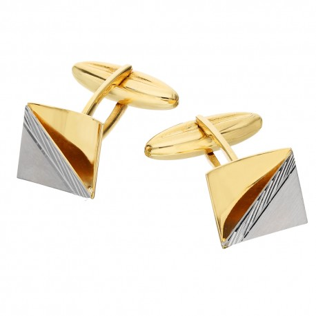 Yellow and white gold 18 K square men cufflinks