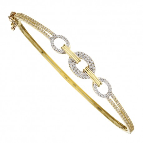 Yellow gold 18 Kt with cubic zirconia rigid bangle