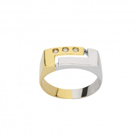 White and yellow gold 18 K with cubic zirconia man ring
