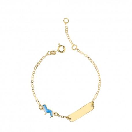 Yellow gold 18 K with enamelled dog baby girl bracelet