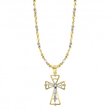 Yellow and white gold 18k with cross pendant man necklace