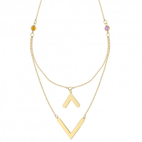 Yellow gold 18k edem double woman necklace